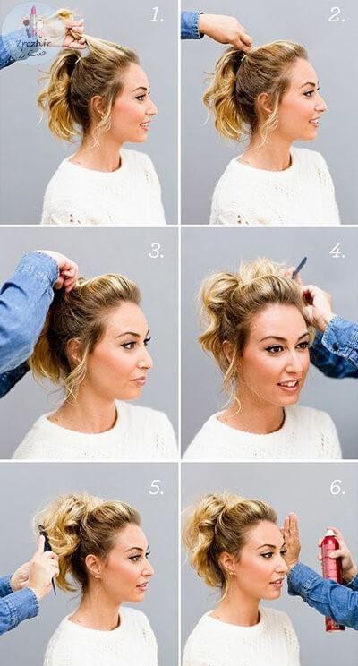 آموزش شینیون مو کوتاه