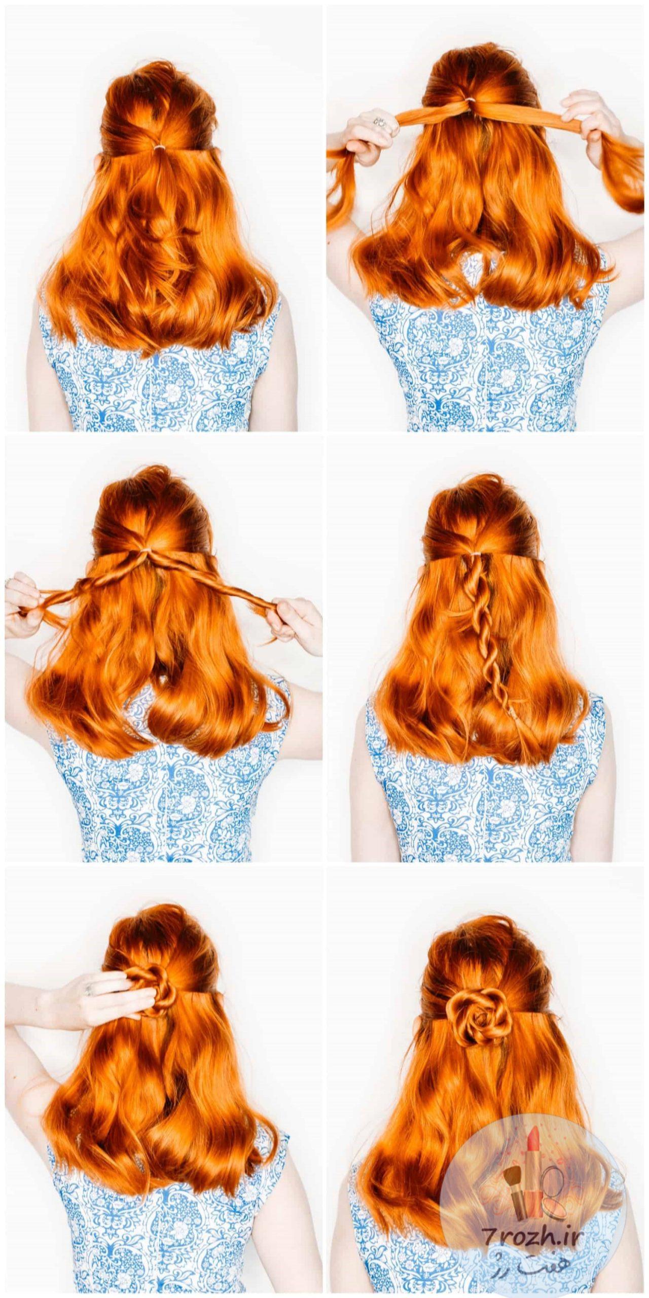 مدل موی گره طرح گل